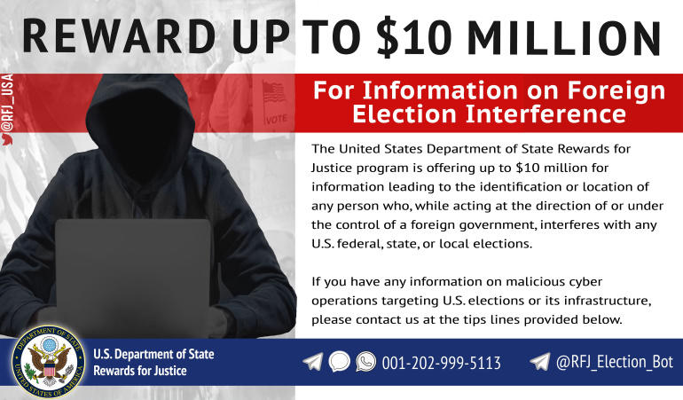 Department of State reward for foreign hackers meddling in US elections