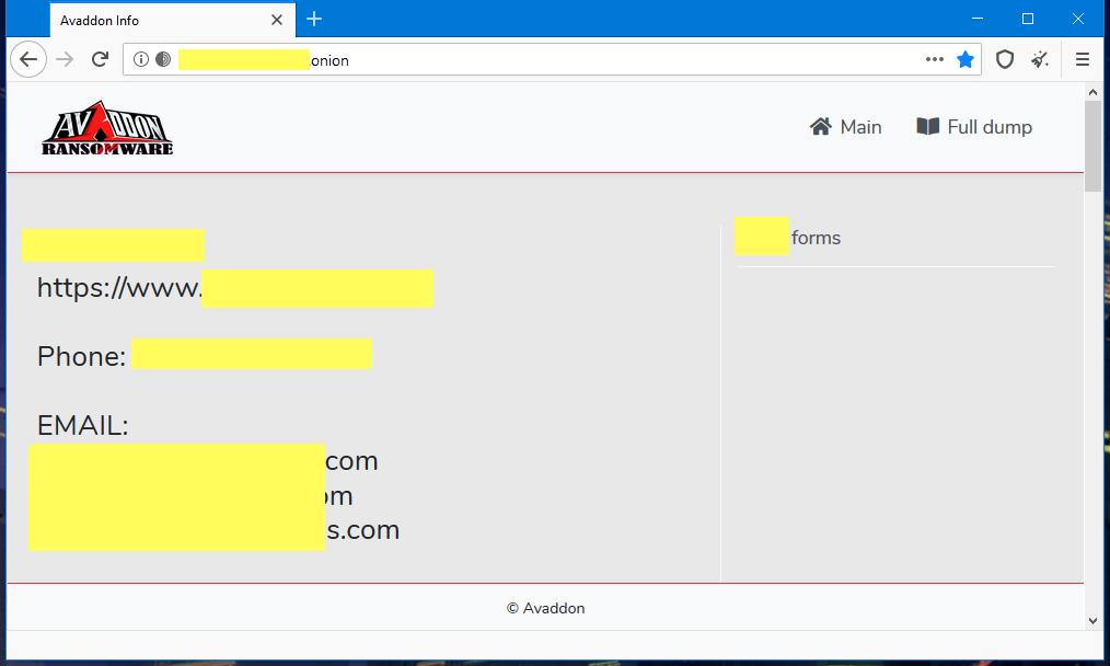 Avaddon ransomware leak site