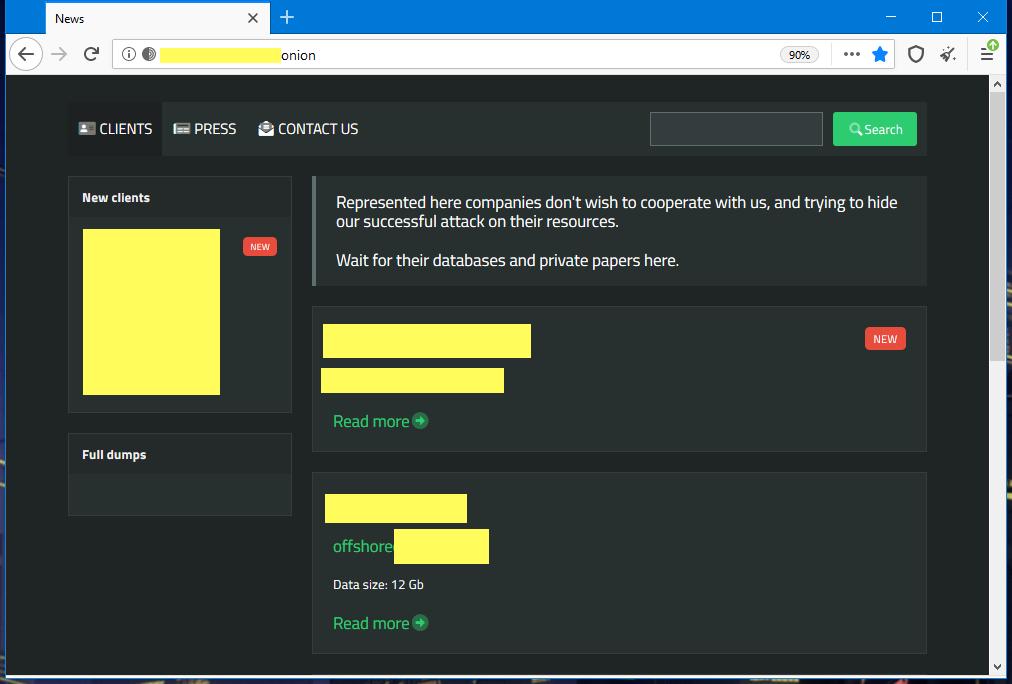 SunCrypt ransomware leak site