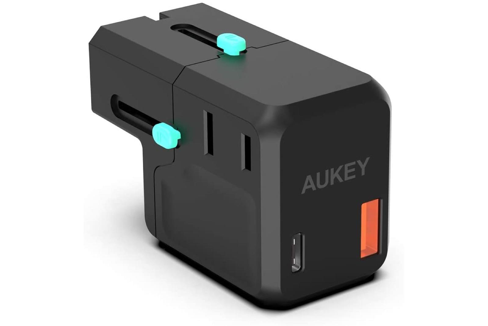 AUKEY Travel Adapter, AC Output up to 2300W, 1x USB Port, 1x USB-C Port with 18W Power Delivery