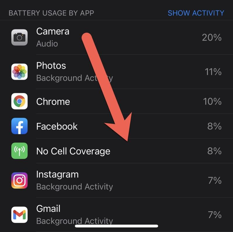 No Cell Coverage battery drain under iOS 14 appears much higher than before.