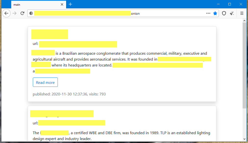 RansomExx ransomware leak site