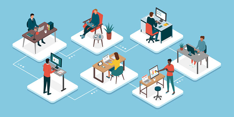 Teleworking and business teamwork