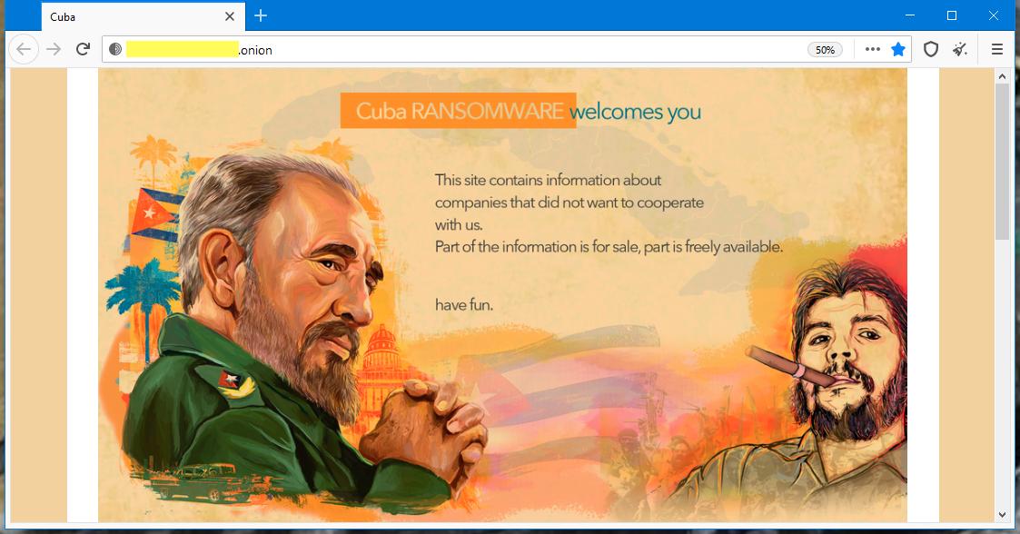 Cuba ransomware leak site