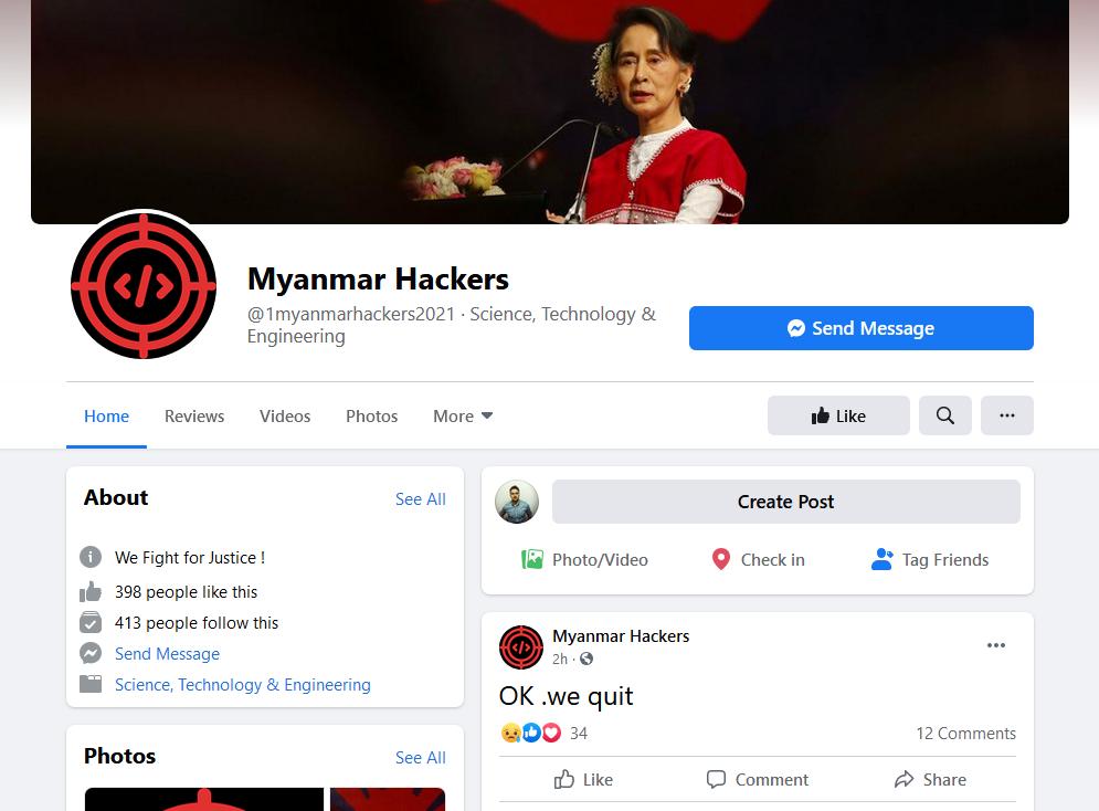 Myanmar Hackers Facebook page