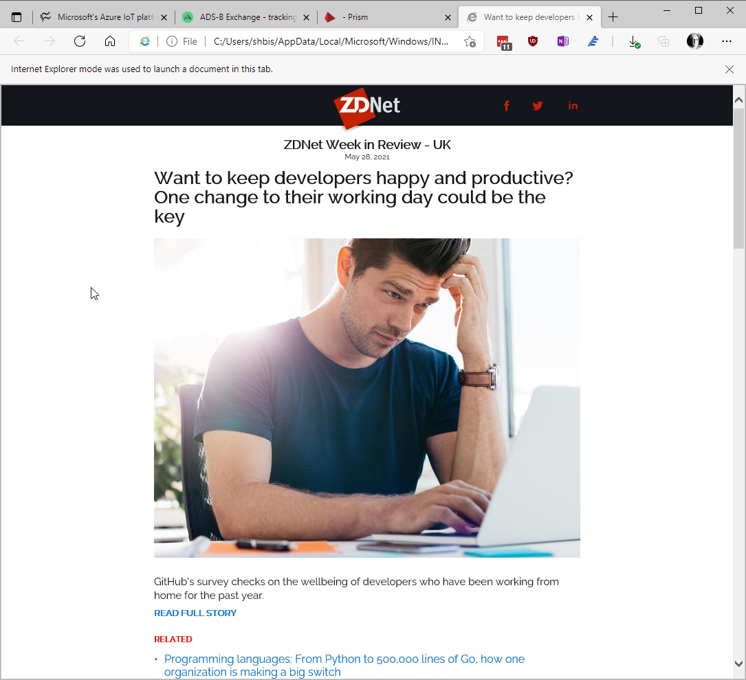 A ZDNet newsletter open in Edge's IE mode