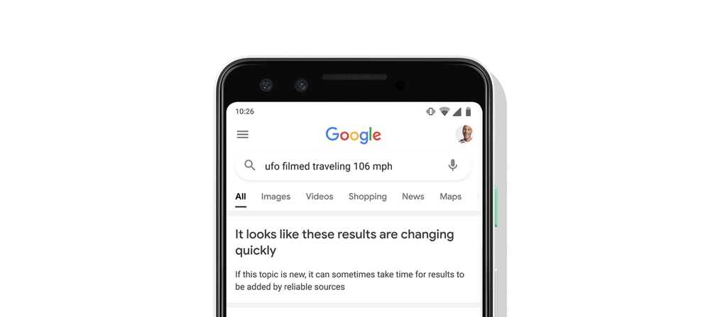 Google Search prévient ses utilisateurs en cas de manque d'informations