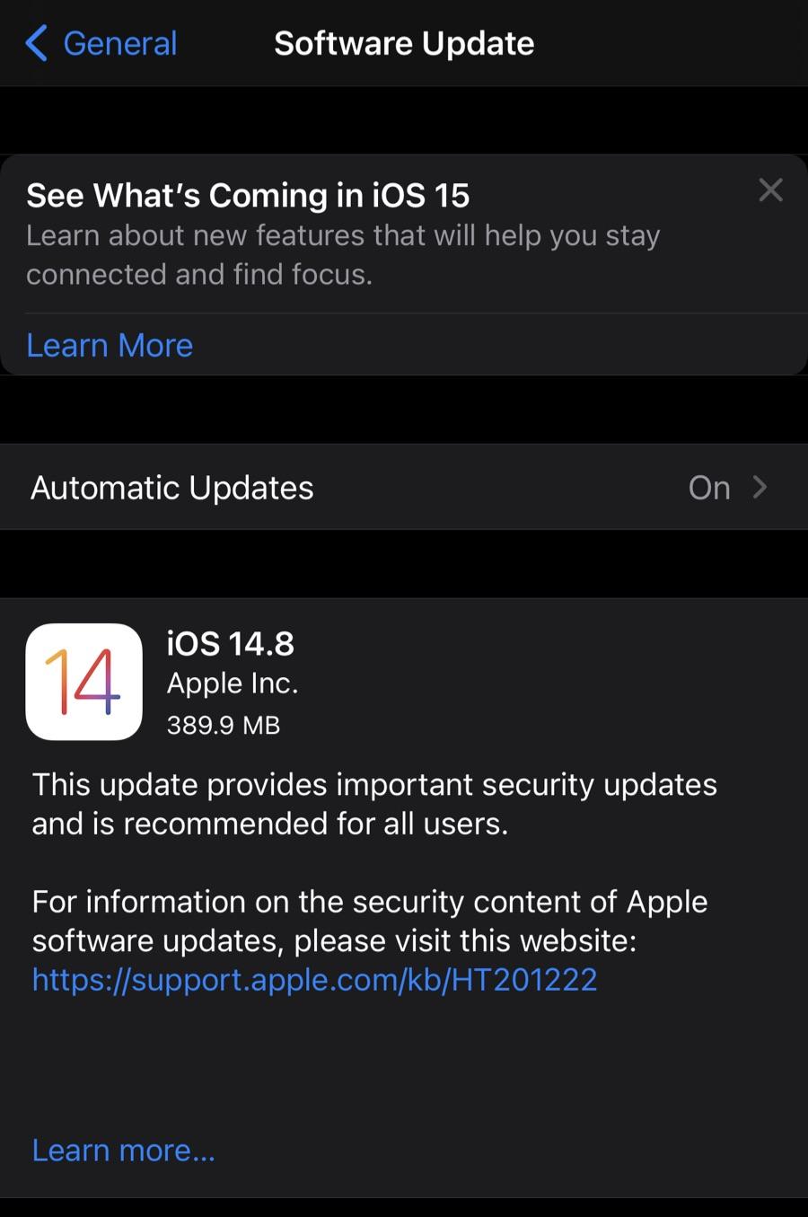 Kejutan! iOS 14.8 untuk iPhone keluar