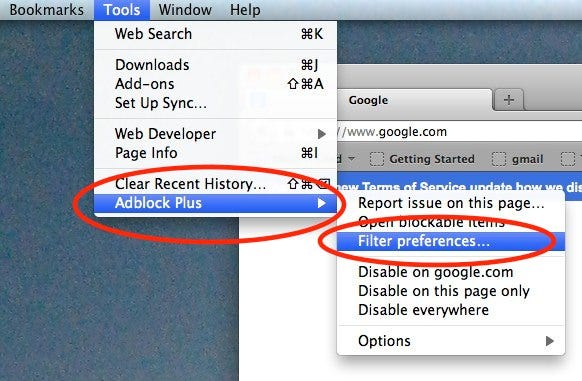Firefox AdBlock Filter Preferences