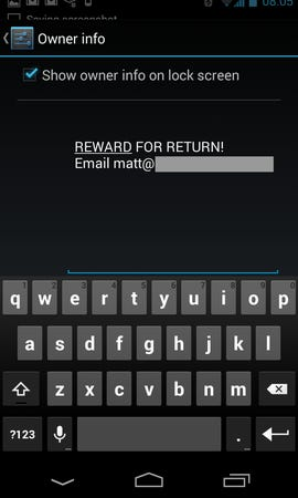 Android - Configure owner info