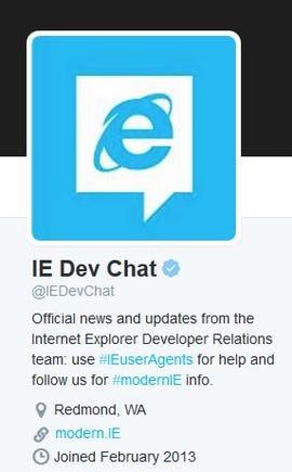 IE Dev Chat on Twitter