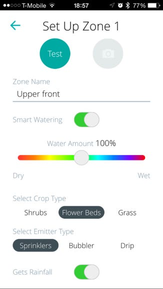 Setting up a zone with Smart Watering