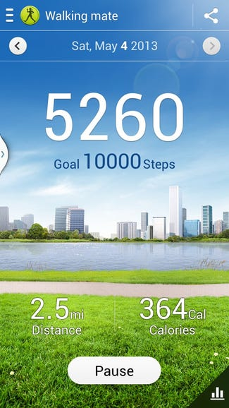 S Health and step count for the day