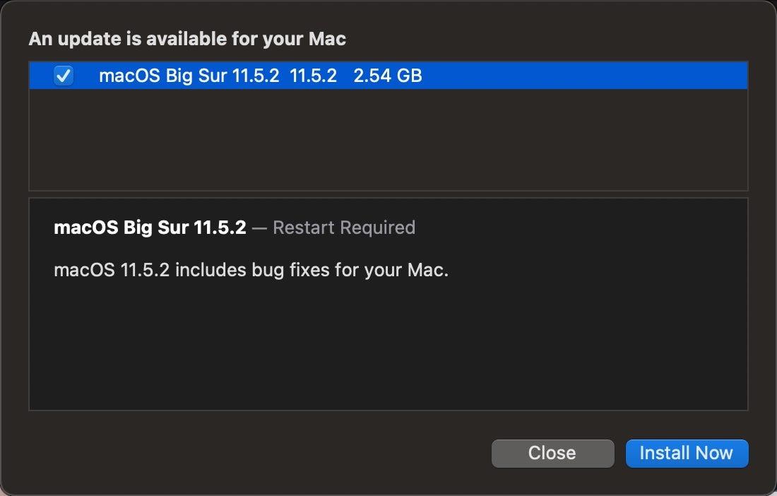 macOS Big Sur 11.5.2