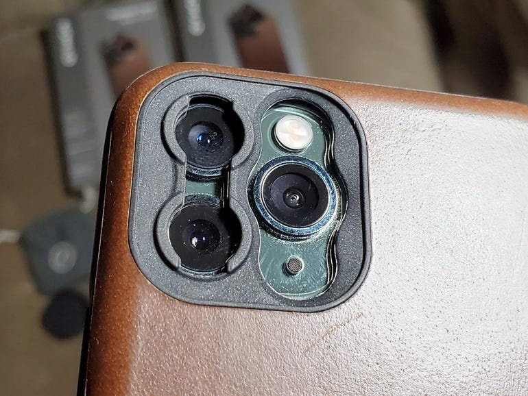 Openings and anchor points for two lenses on iPhone 11 Pro
