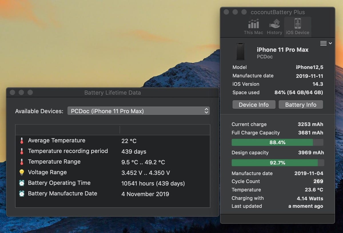 coconutBattery data on my iPhone 11 Pro Max