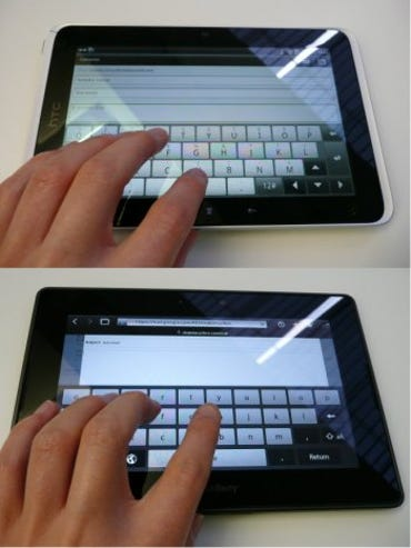 iPad vs PlayBook vs Flyer: Typing on the small slates is pretty cramped