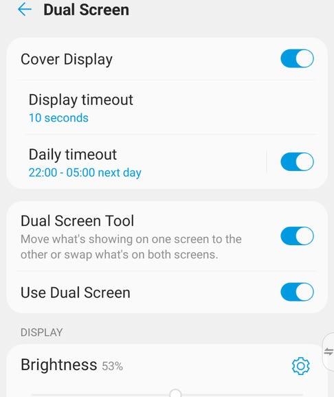 Dual screen settings