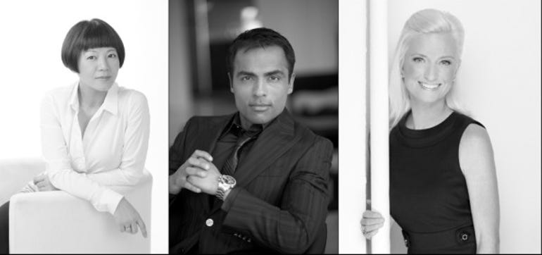 Black and white photos of Angel Chen, Gurbakash Chahal and Carolyn Everson