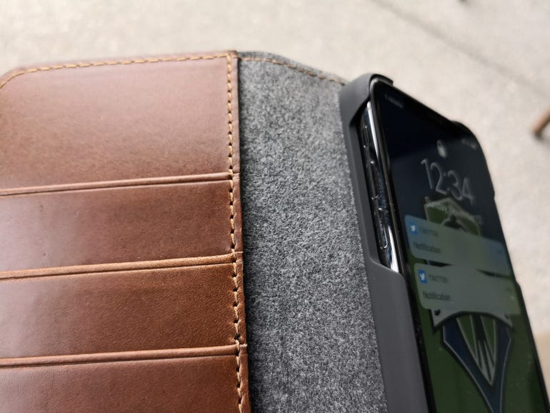 iPhone X mounted in the Leather Folio