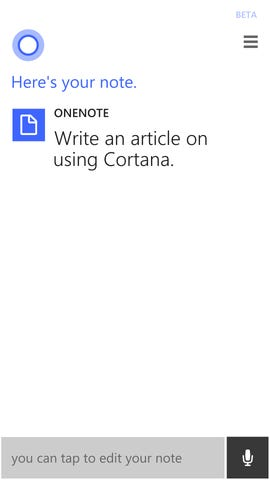 Cortana OneNote
