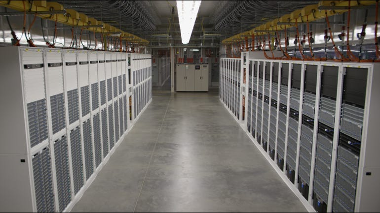 Racks of Open Compute hardware in Microsoft's newest data centers.