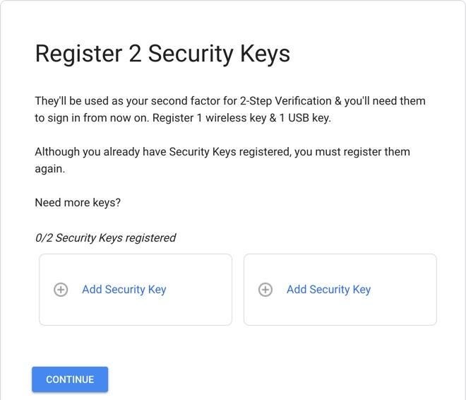Register the two security keys