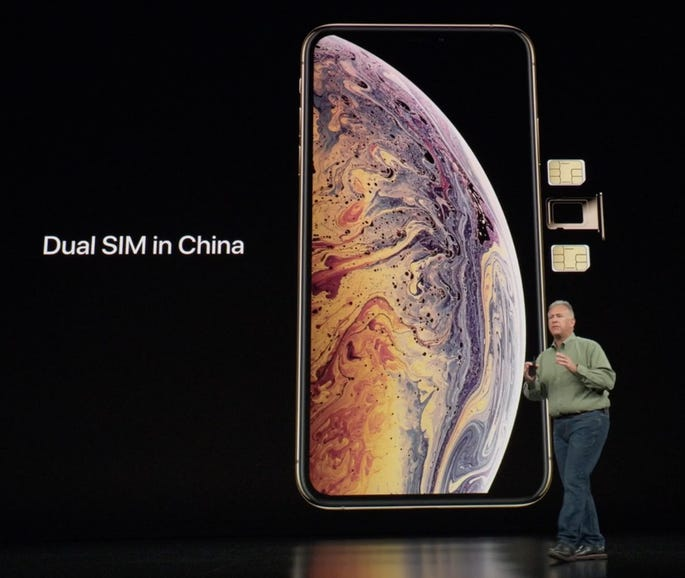 In China, the iPhone XS and iPhone XS Max will have two physical SIMs