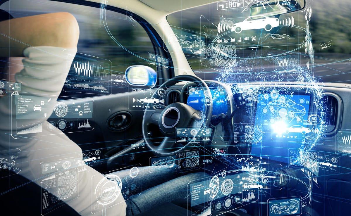 Autonomous car concept. Driverless vehicle.