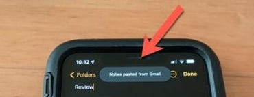 Copy/paste notification