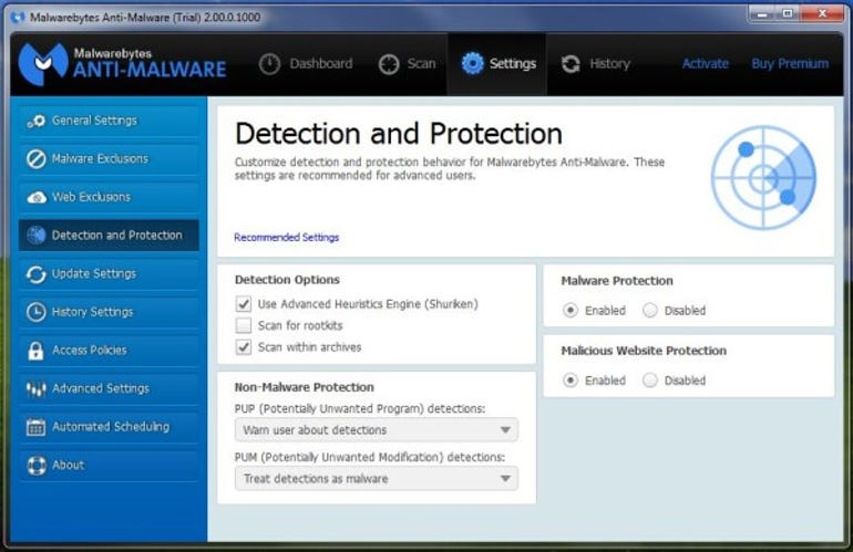 Malwarebytes Premium settings