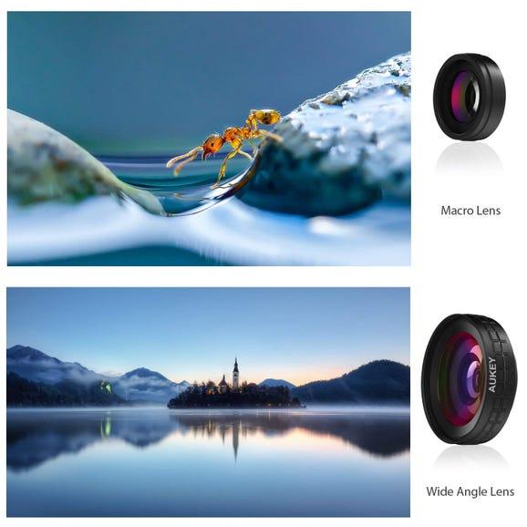 Aukey Ora clip-on camera lens, 0.45 x 140° wide-angle + 10x macro