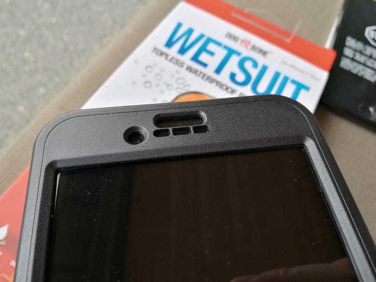 iPhone 7 Plus mounted in the Wetsuit
