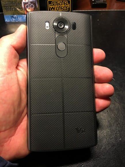 Back of LG V10 in hand