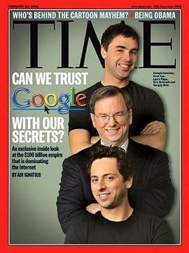 Time cover with Google co-founders and CEO, February 2008
