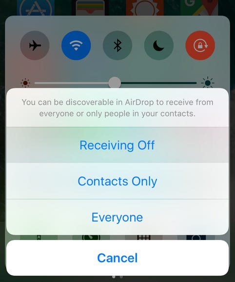 Use AirDrop sparingly, and only when needed