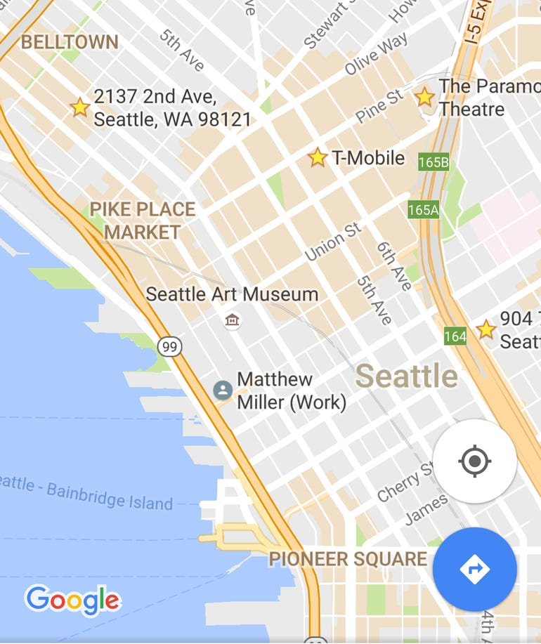 Google Maps areas of interest