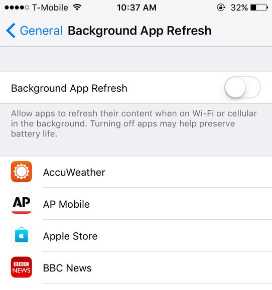 Limit apps from churning up data, power in the background