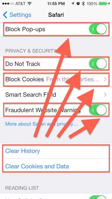Safari Privacy Settings in iOS 7 on the iPhone - Jason O'Grady