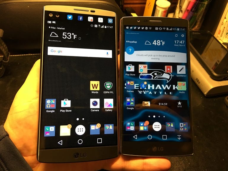 Front of the LG V10 and LG G4