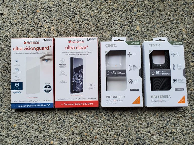 InvisibleShield protectors and Gear4 cases for the Samsung Galaxy S20 Ultra 5G