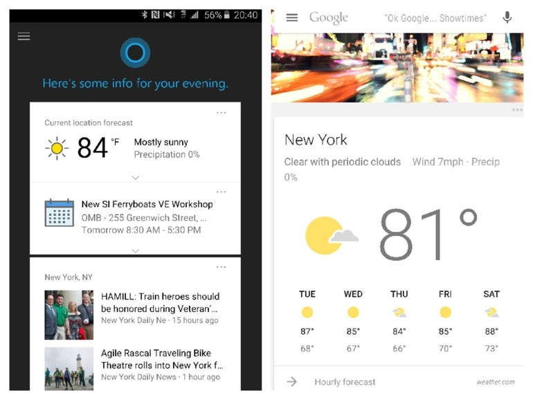 Cortana vs Google Now: Launch each app