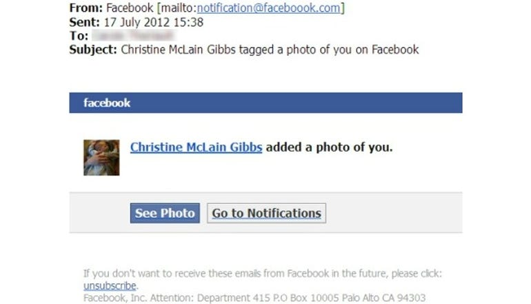 Virus warning: Someone tagged or added a photo of you on Facebook