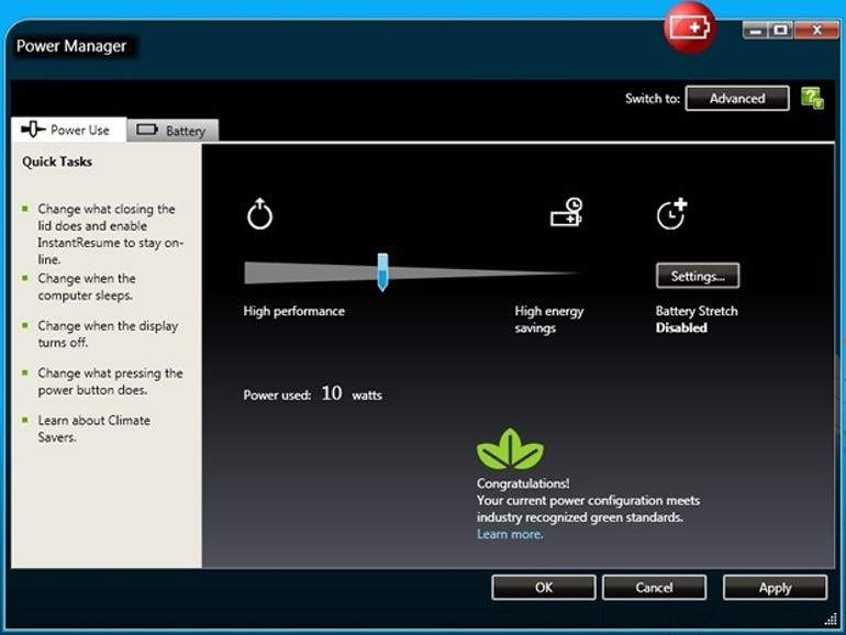 Power Manager for ThinkPad T410s touchscreen