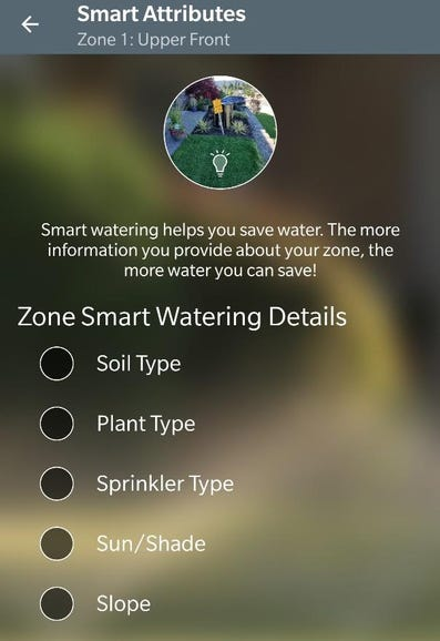 Selecting Smart Watering details