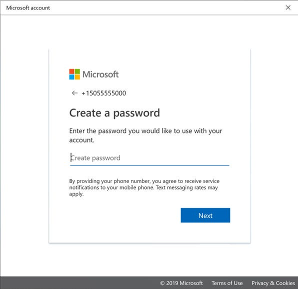 Set up a Microsoft account with a phone number