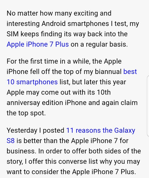 Full page browsing with Samsung Internet
