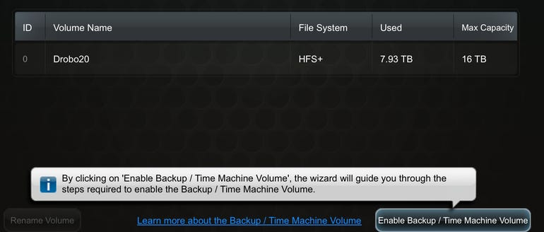 Drobo Dashboard - Enable Backup/Time Machine volume