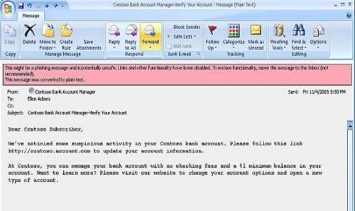 Phishing e-mail warning in Microsoft Outlook