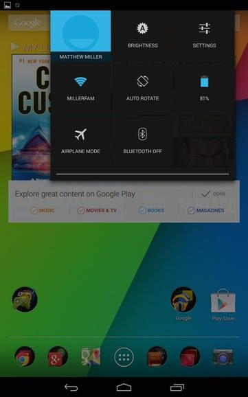 Quick controls on the Nexus 7